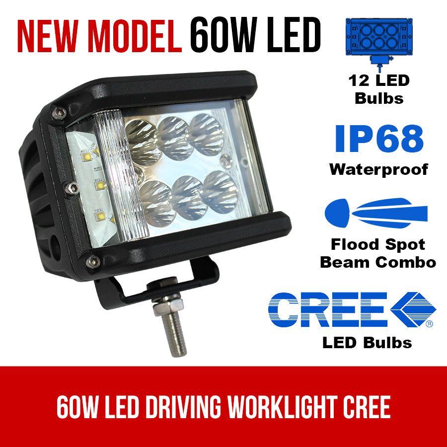 60w led driving worklight cree flood spot beam 12v 24v truck lamp light offroad elinz