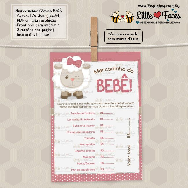 Excepcional Kit Brincadeiras Chá de Bebê Ovelhinha para imprimir | chá de bebê  ZO76