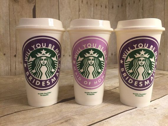 Bridesmaid Starbucks Cup Will You Be My Bridesmaid Starbucks Cup Wedding Ideas Wedding Starbucks Cup Ask My Bridesmaid Wedding Cup