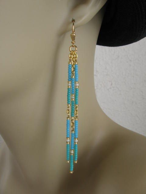 Seed Bead Dangle Earrings Turquoise Aqua Beaded Dangle