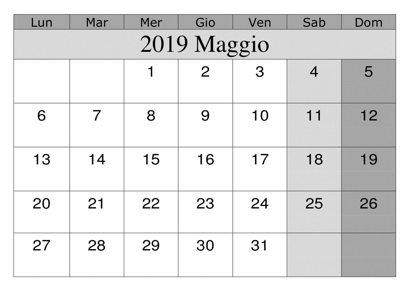Gratuito Maggio 2019 Calendario Con Immagini Calendario