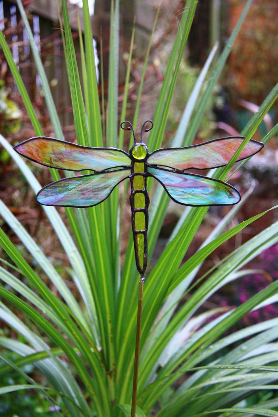 Stained Glass Dragonfly Garden Stake