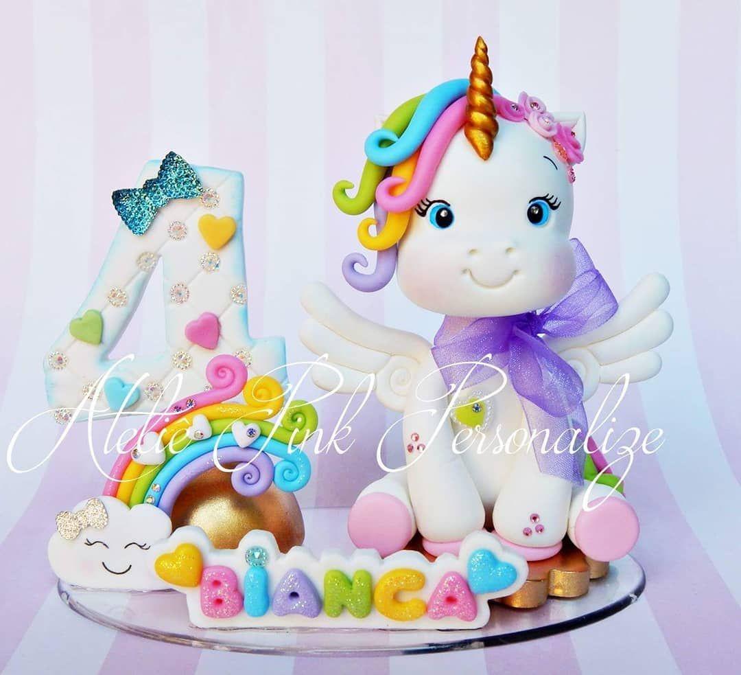 Artesanato Residencial San Miguel De Allende ~ Topo de bolo unicórnio baby em biscuit Unicorn Party, Cake Topper, Polymer Clay, Porcelana fria