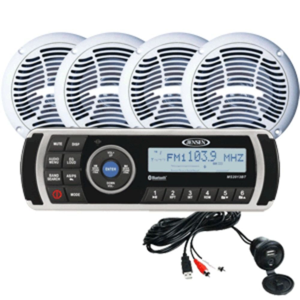 JENSEN CPM200 AM/FM/USB Waterproof, Bluetooth Stereo Package w/MS2013BT, Aux Input & 4-AMS602W Speakers