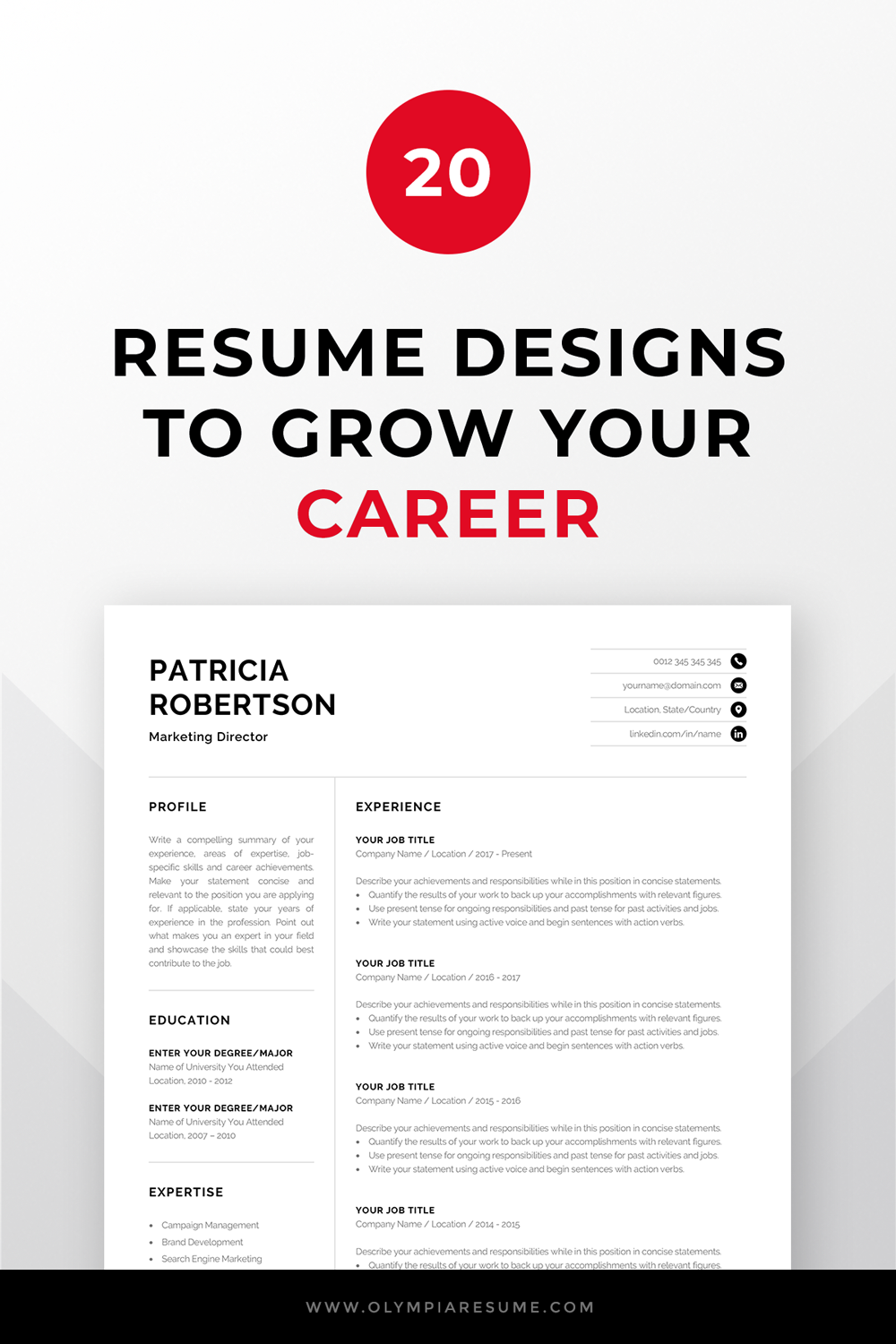 20 resume designs to grow your career  professional