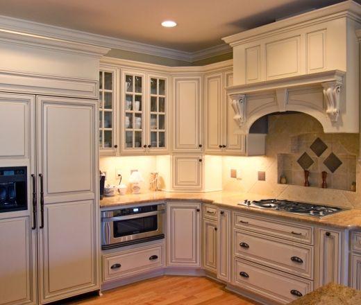 Stock Kitchen Cabinet Doors: Transitional Island Style Pale Yellow Kitchen, Cream