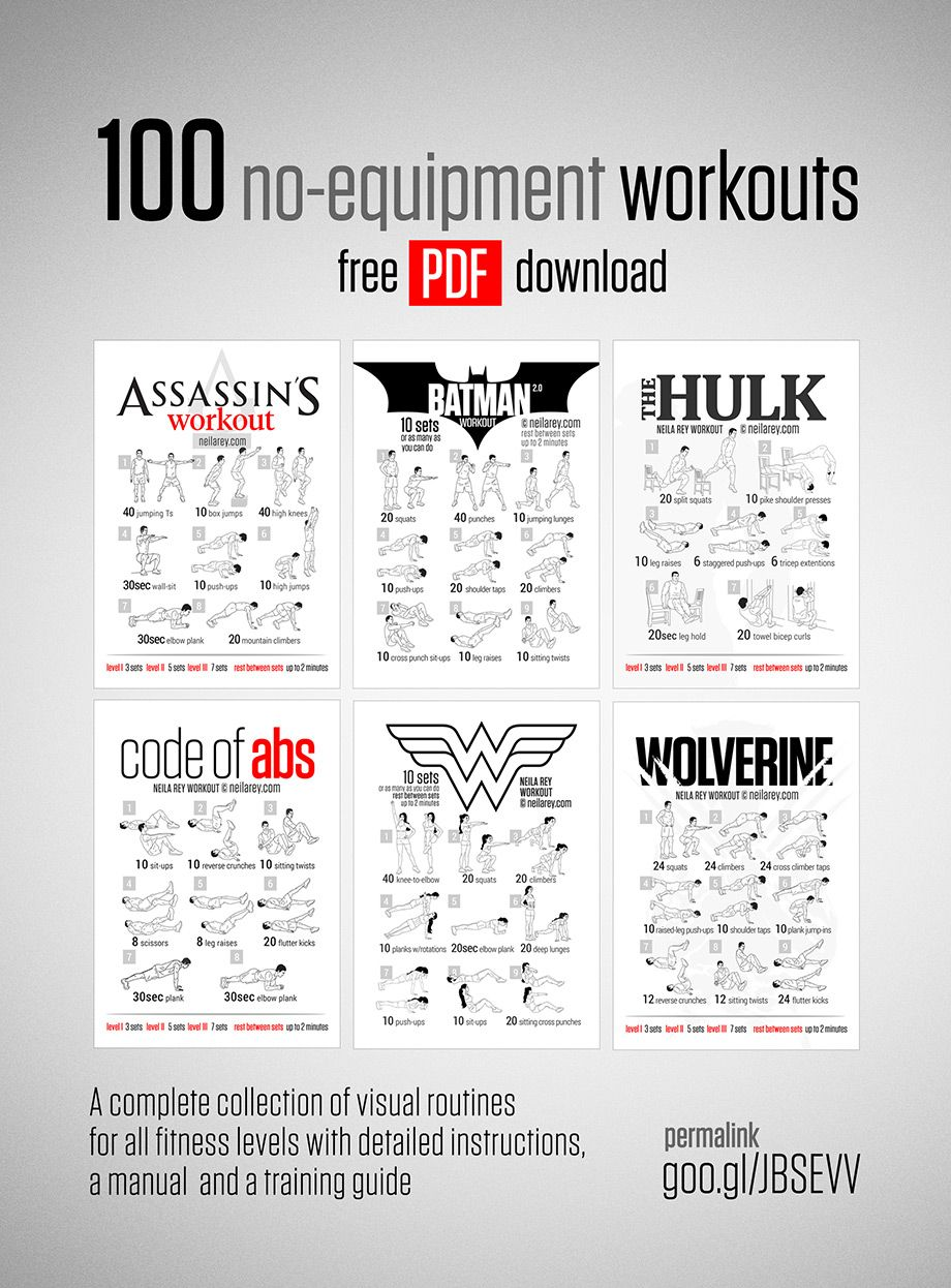 Free 100 No-Equipment Workouts A complete collection of visual routines for  all fitness levels with detailed instructions, a manual and a training guide .