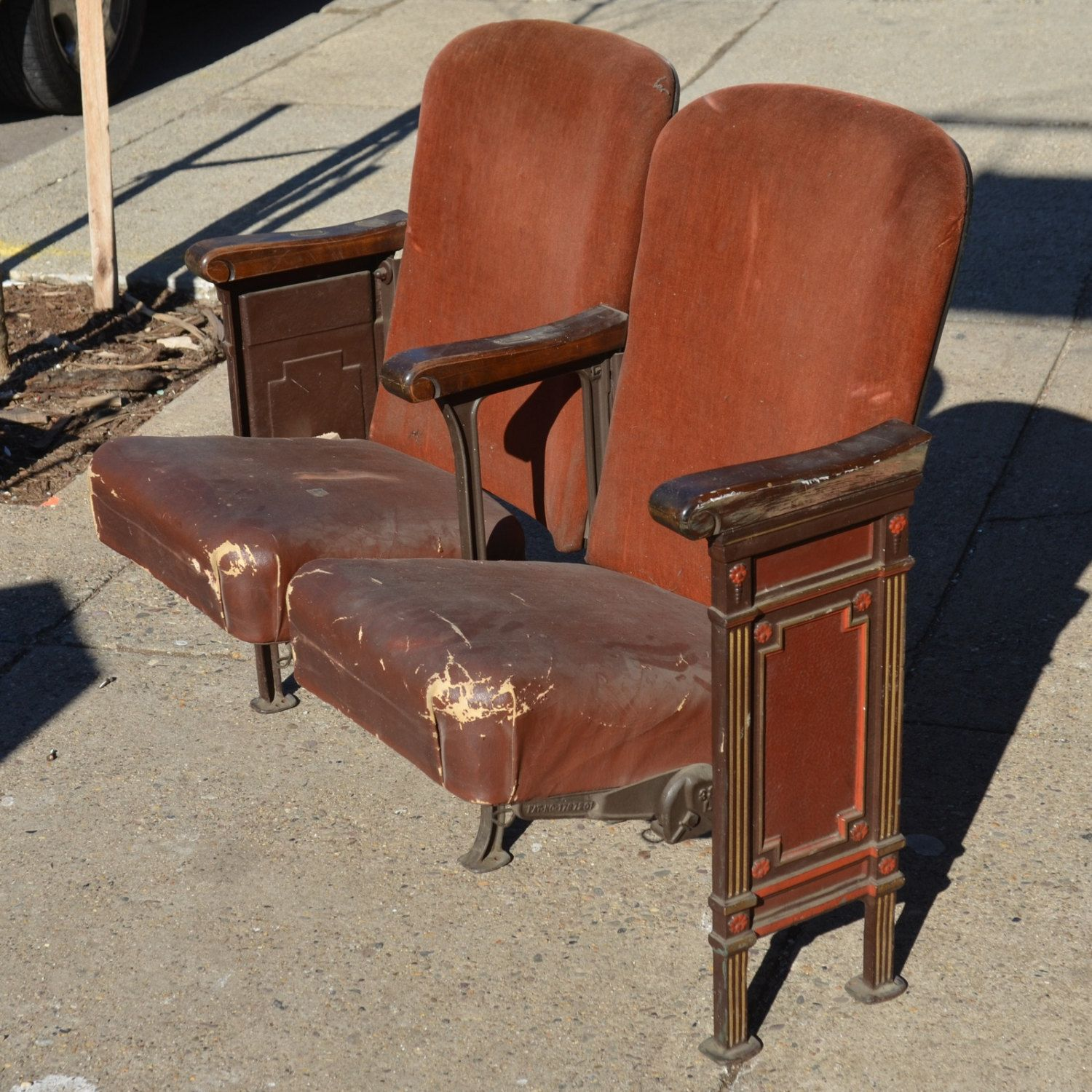 Antique theater chairs - Vintage Theater Opera Seats From Ford S Theater By Phillysalvage 296 55