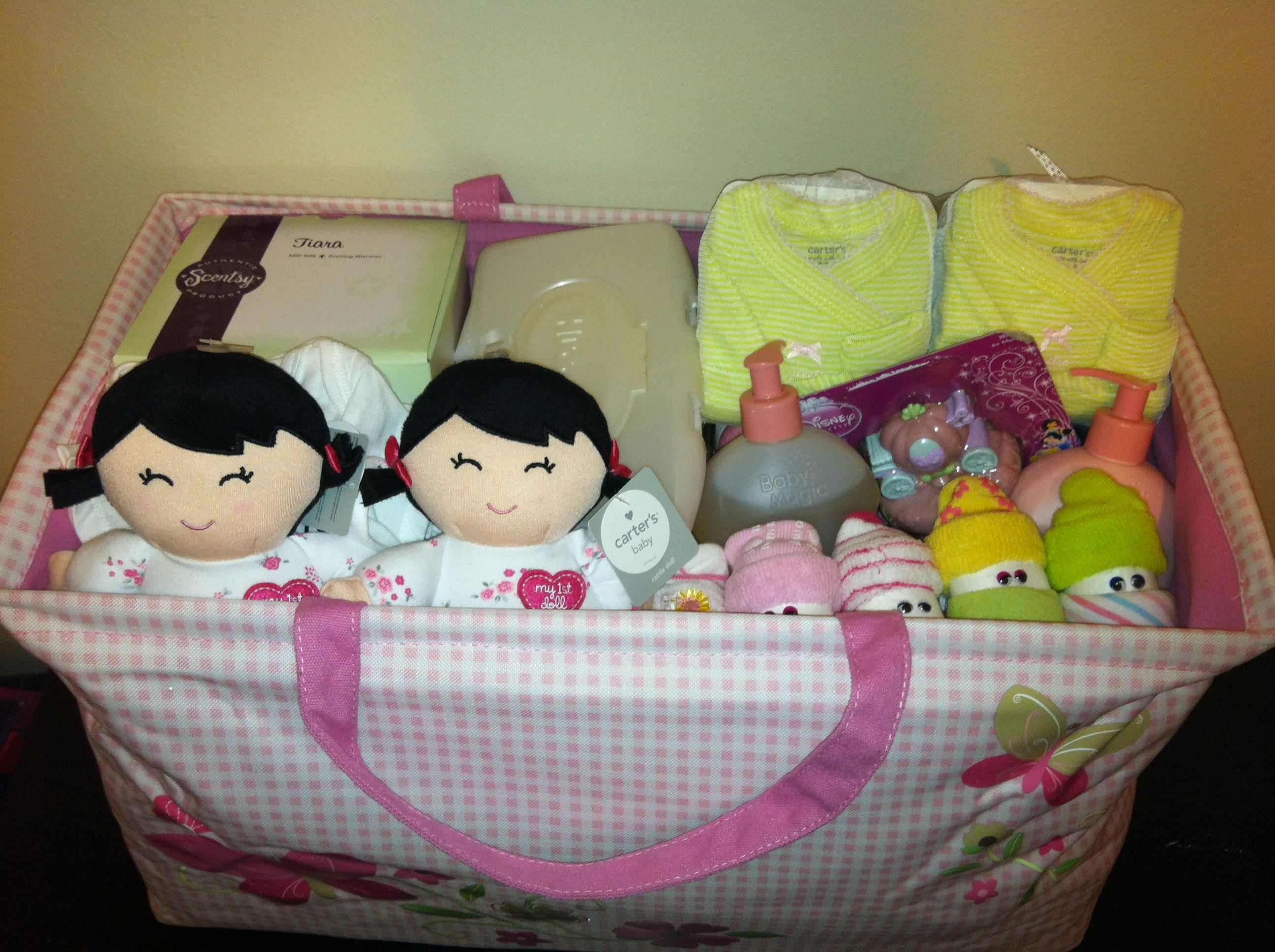 Twin Girl Baby Shower Gift Basket My Projects Pinterest