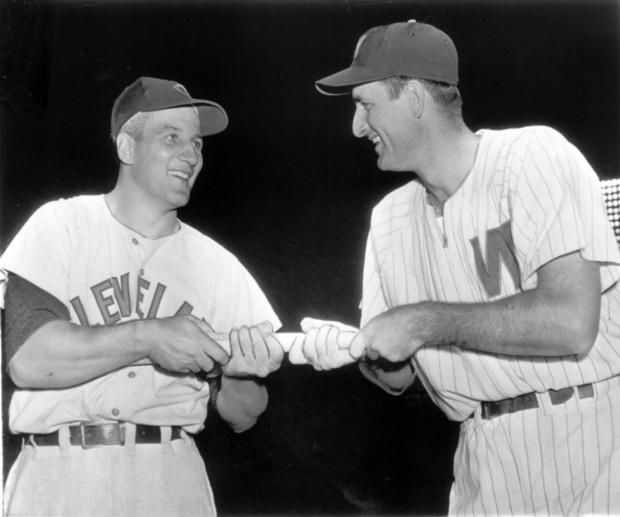 Al Rosen (on the left) with team mate Mickey Vernon