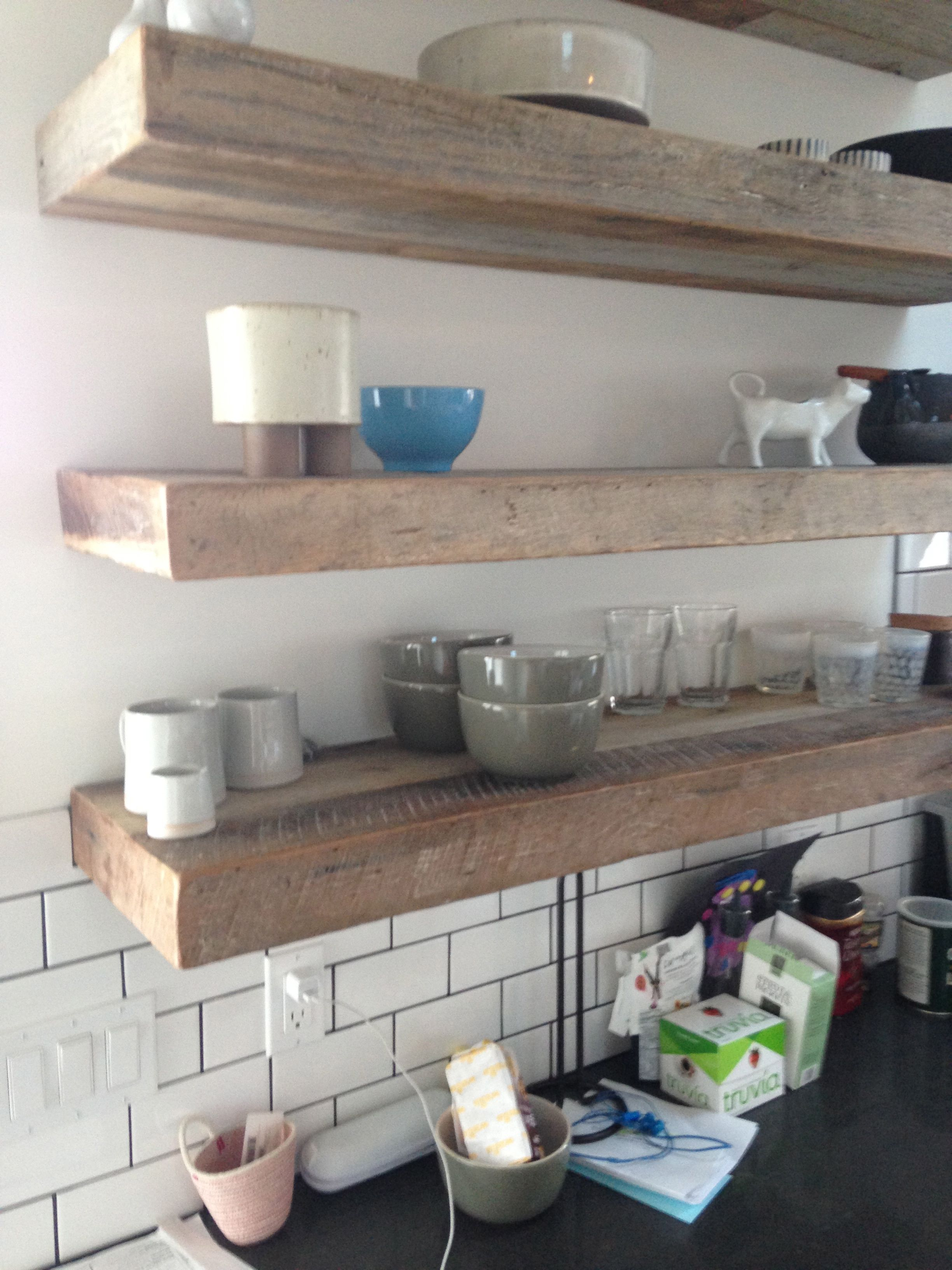 Open Kitchen Shelving With Thick Slabs Of Reclaimed Wood Mounted