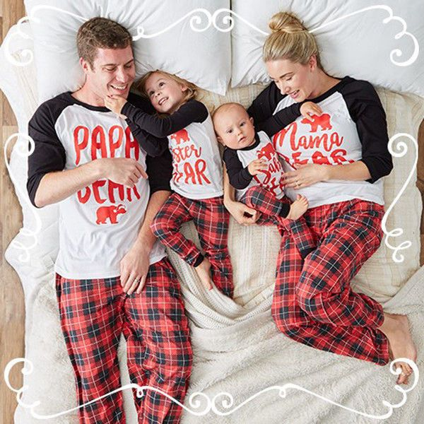 a071600df5 2018 Family Matching Christmas Pajamas Set Women Baby Kids Sleepwear  Nightwear M