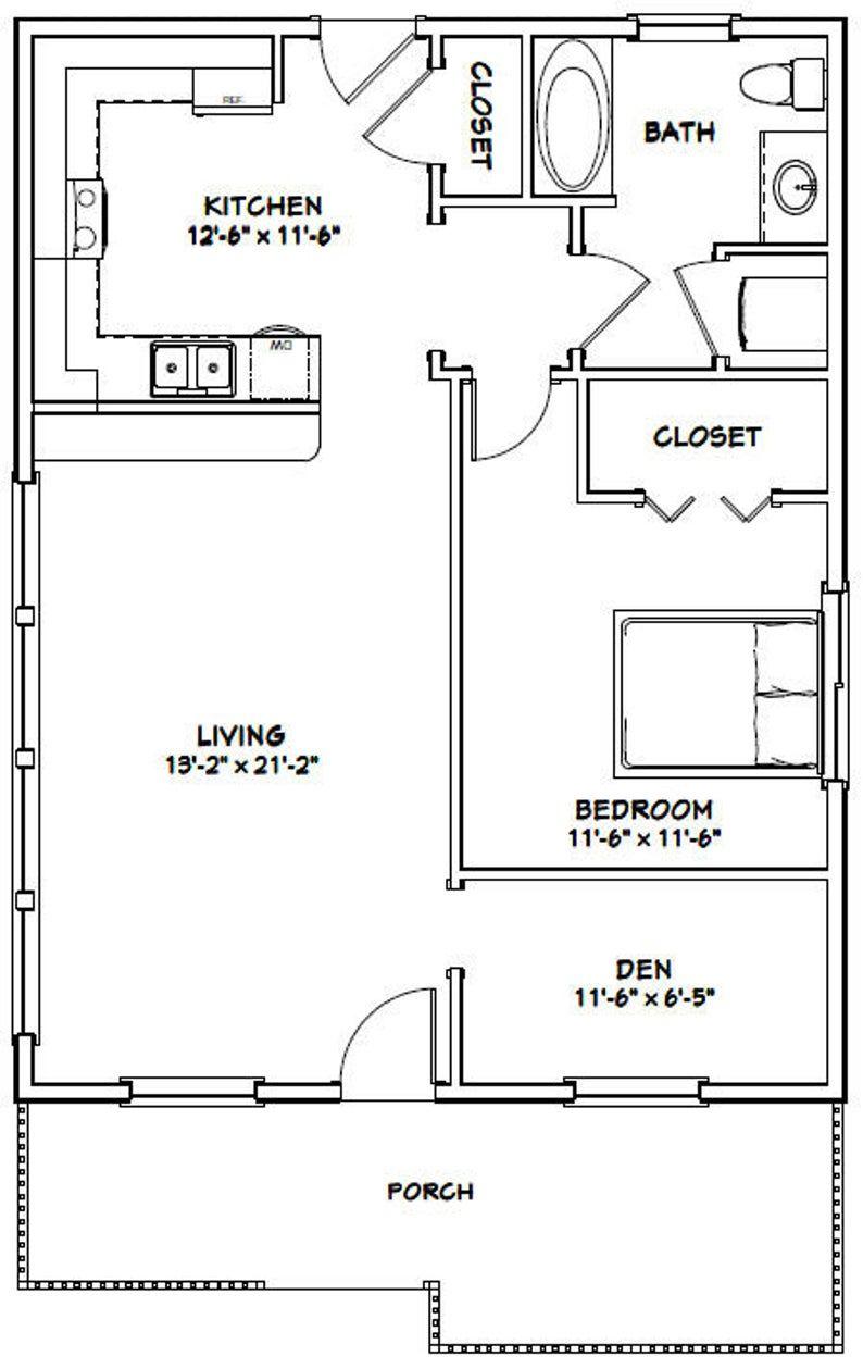 26x34 House 1 Bedroom 1 Bath 884 Sq Ft Pdf Floor Plan Etsy In 2020 Guest House Plans One Bedroom House Plans 1 Bedroom House Plans