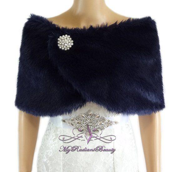6d9879fd3 Bridal Faux Fur Wrap, Navy Blue Fur Stole, Wedding Fur Shrug, Fur, Bridal  Fur Wrap, Bridal Stole, Fa