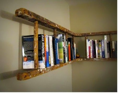 Have an old wooden ladder that is possibly hazardous for normal use? Turn it into a bookshelf!
