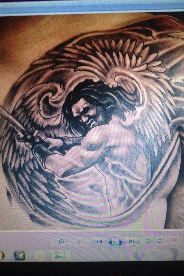 awesome angel warrior tattoo. Black Bedroom Furniture Sets. Home Design Ideas