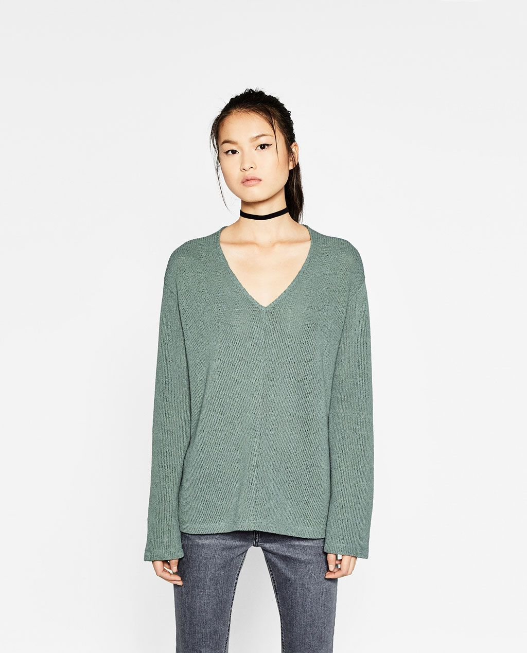 Image 1 of V-NECK SWEATER from Zara | Relaxed chic | Pinterest | 1 ...