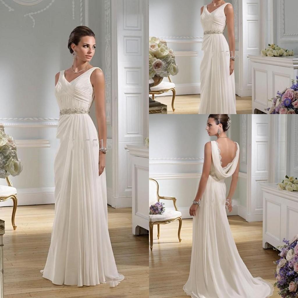 Graceful Sheath Wedding Dresses 2015 Summer A Line V-neck Greek Lace ...