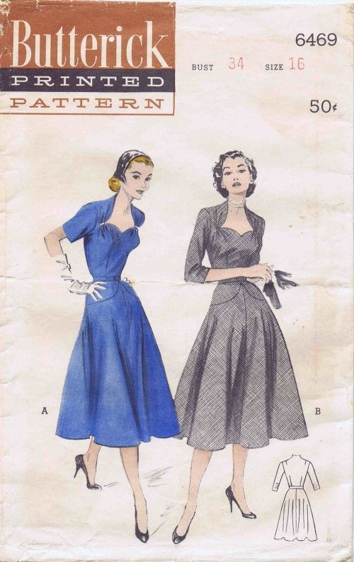 1950s Sweetheart Neckline Cocktail Dress Butterick 6469 Vintage