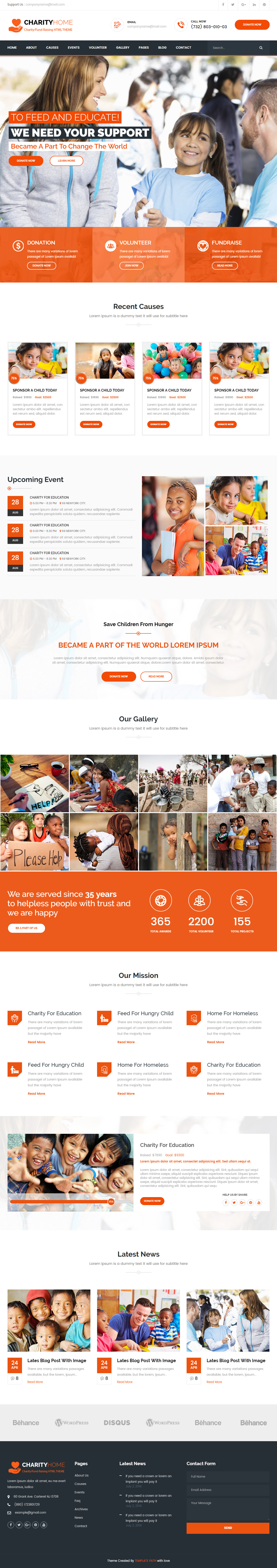 Charity Home is Premium full Responsive #Parallax #HTML5 Retina ...