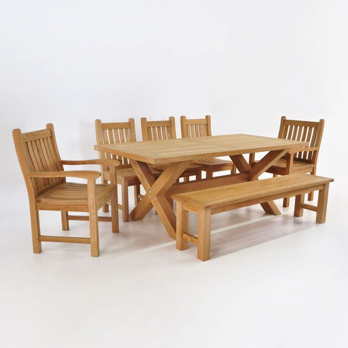 This Medium Sized Outdoor X Leg Table Comes With A Set Of 5 Of Our Wave  Chairs And A Bench. The Whole Teak Dining Set Is Made Up Of A Grade Teak.