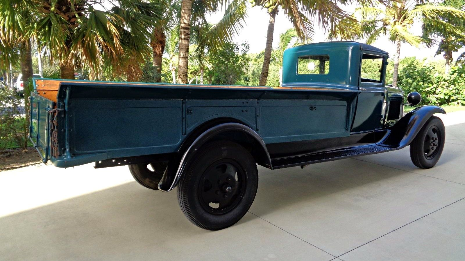 1931 Model A Ford Pickup, 40 hp engine, transmission, with left side  mounted spare tire.