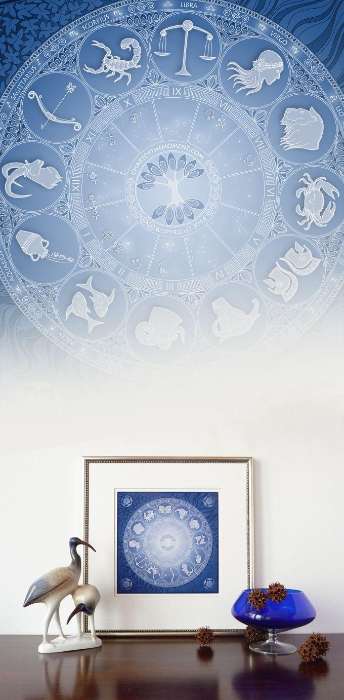 Personalized Astrological Chart Art Print Blue White Wall Decor Wall Art Gift Zodiac Horoscope Astrology Birthday Gift I Astrology Wall Art Gift Astrology Art