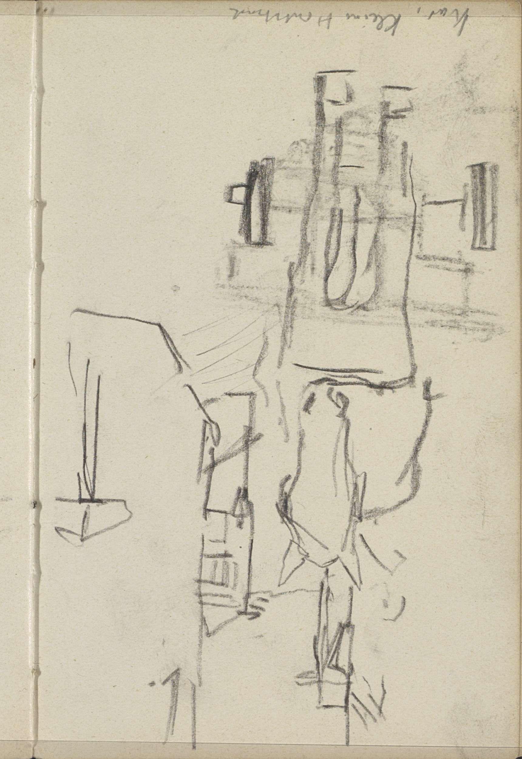 George Hendrik Breitner | Paardenkar in de Kleine Houtstraat te Amsterdam, George Hendrik Breitner, c. 1902 | Pagina 20 uit een schetsboek met 46 bladen vervaardigd in de omgeving van Amsterdam, Rotterdam en Haarlem.