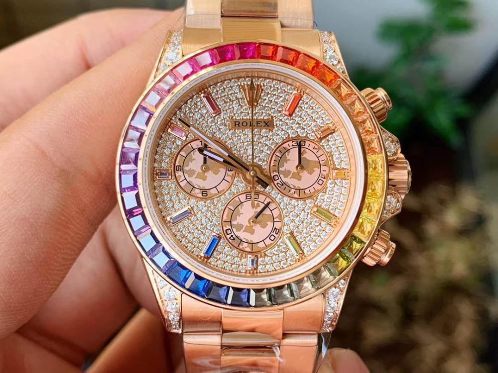 Rolex Daytona Rose Gold Diamond Dial & Rainbow Sapphire Bezel Diamond in 2020 | Rolex daytona ...