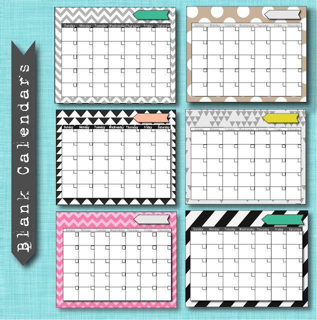 Free Blank Calendar Printables Tons More  Organizations