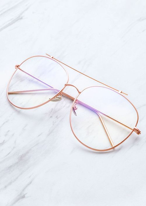 0d254edca5 Rose Gold Frame Clear Lens Double Bridge Glasses