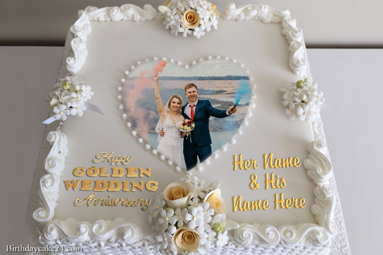 Happy 50th Wedding Anniversary Cake With Name And Photo