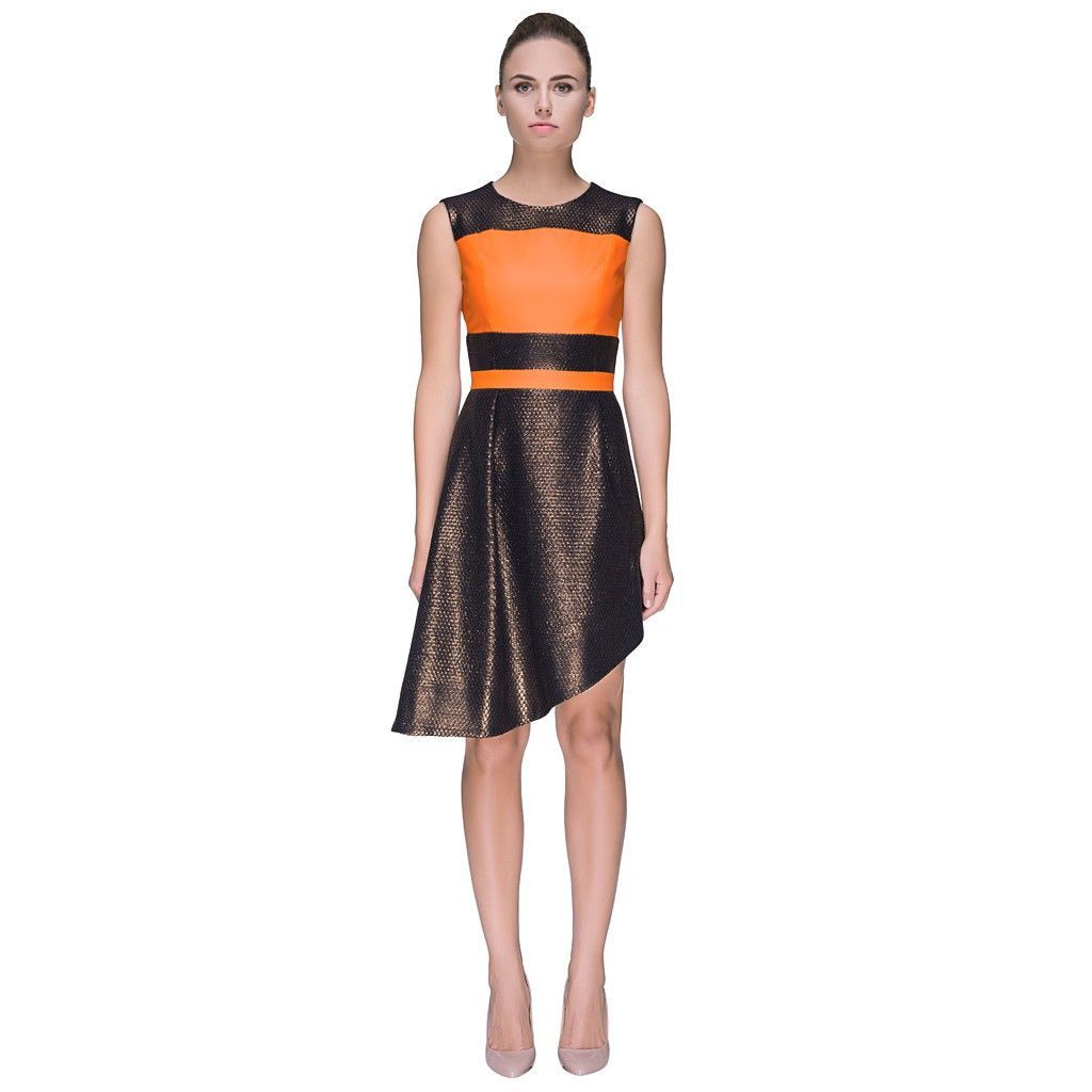'Orange + Chocolate Remedy' Reviving Orange and Chocolate Colored Sleeveless Dress