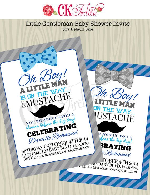 Little Gentleman And Mustache Baby Shower Invite By Ckfireboots