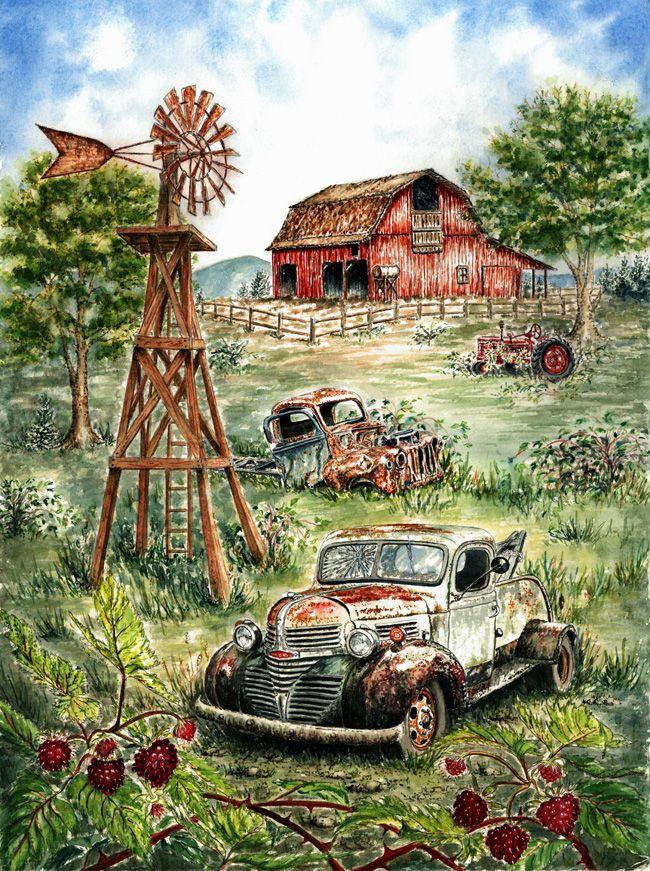 Country Cottage Painting Winter With Antique Car