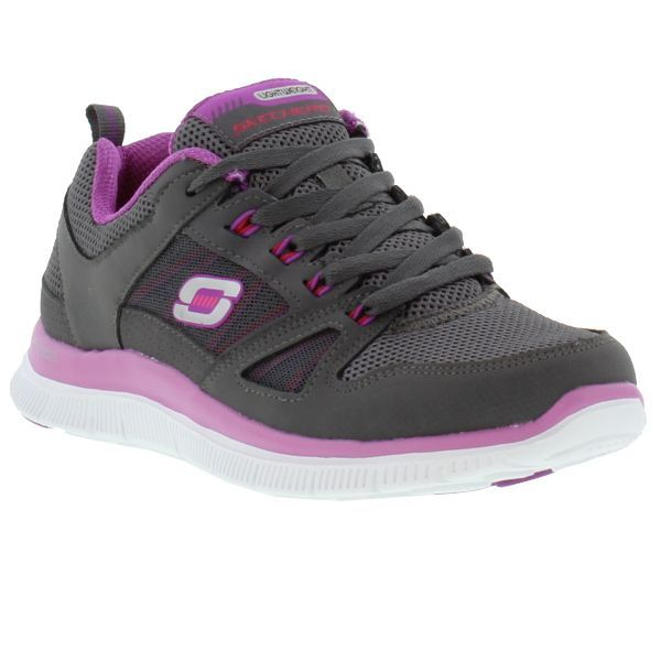 ad3d5c7da18f Skechers Shoes, Womens Flex Appeal Spring Fever Charcoal Purple - £49.99