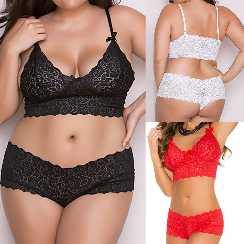 Fashion Womens Lady  Lingerie Babydoll Underwear Sleepwear Briefs Sets Plus Size