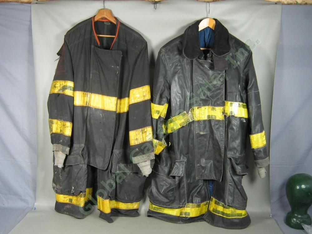 2 Vtg Chicago Fire Dept Summer Winter Firefighter Coats Jackets W