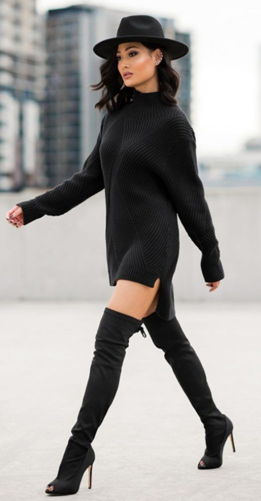 Chunky Sweater Dress With Over The Knee Boots Ready For Fall