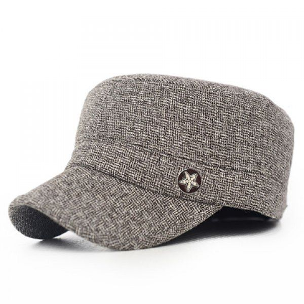 14442ff08b5 Stylish Five-Pointed Star Button Embellished Winter Military Hat For Men   women