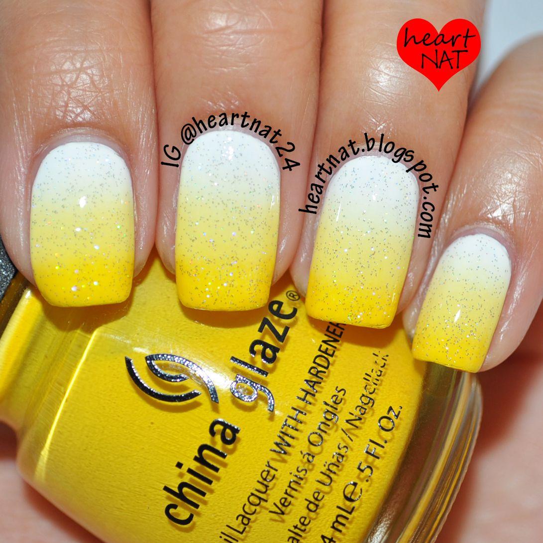 White To Yellow Gradient My Nail Creations Yellow Nail Art