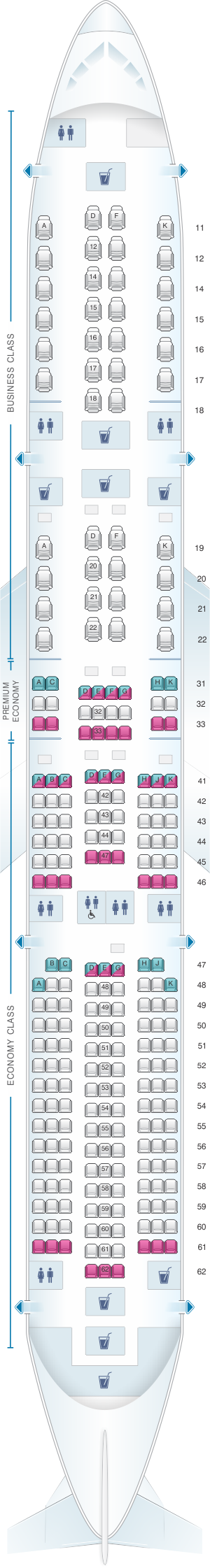 Seat Map Singapore Airlines Airbus A350 900 | Singapore Airlines ...