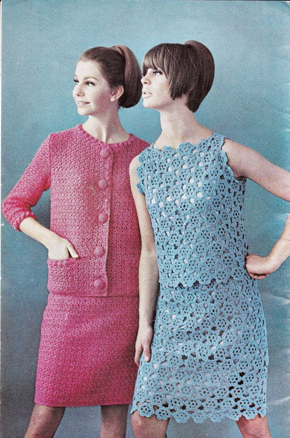 c1c37a5bcdd0c 1960s Vintage Crochet Patterns Booklet Villawool No 1 Boho Womens ...