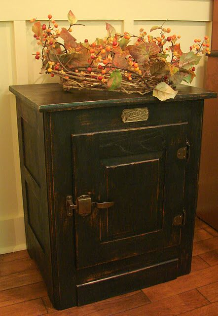 Oak Ice Box Makeover Vintage Furniture Makeover Antique Ice Box