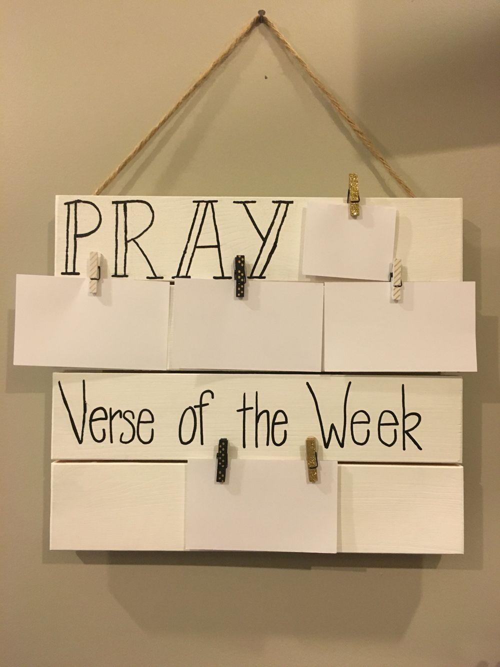 Prayer board Mini pallet from Hobby Lobby painted white