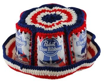 f44d94b7078 Crocheted beer and soda can hats. We went through a mega fad of these in  Hawaii.
