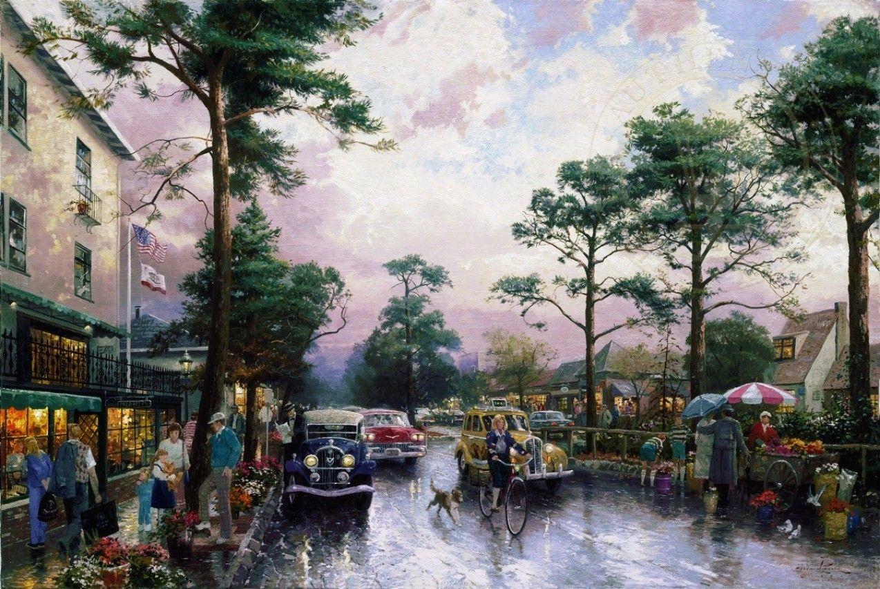Обои street, winter, thomas kinkade, painting, 1932, snow, new york, snow on seventh avenue. Города foto 15
