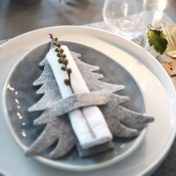 Grey Felt Tree Shaped Christmas Napkin Holders