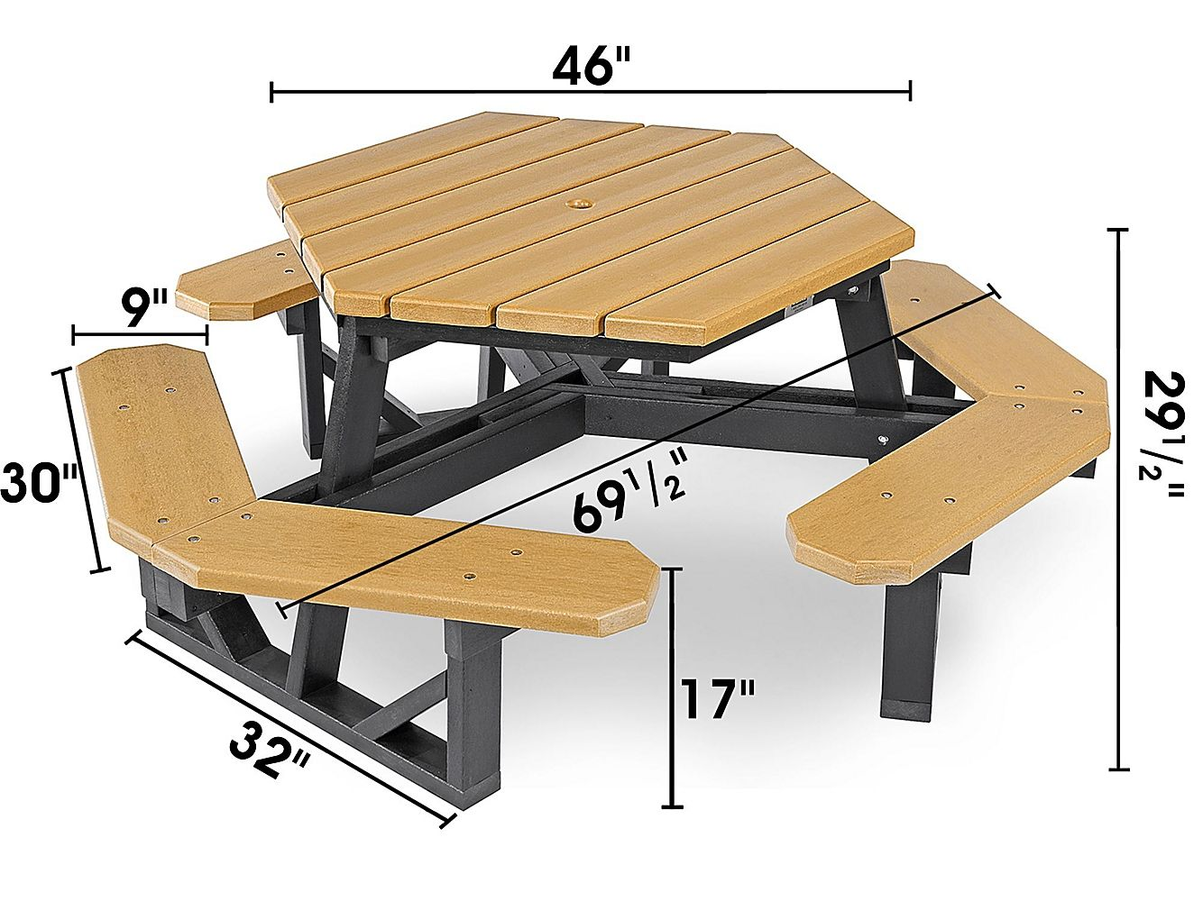 Hex Recycled Plastic Picnic Table 46 H 2560 Uline With