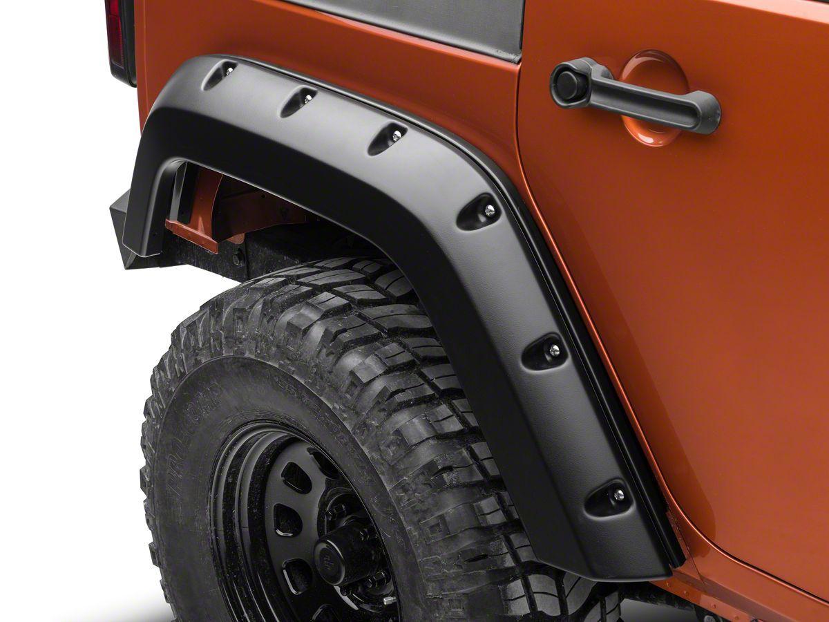 Bushwacker Factory Width Pocket Style Fender Flares Rear Pair 07 17 Wrangler Jk 4 Door Fender Flares Jeep Wrangler Fenders Jeep Wrangler